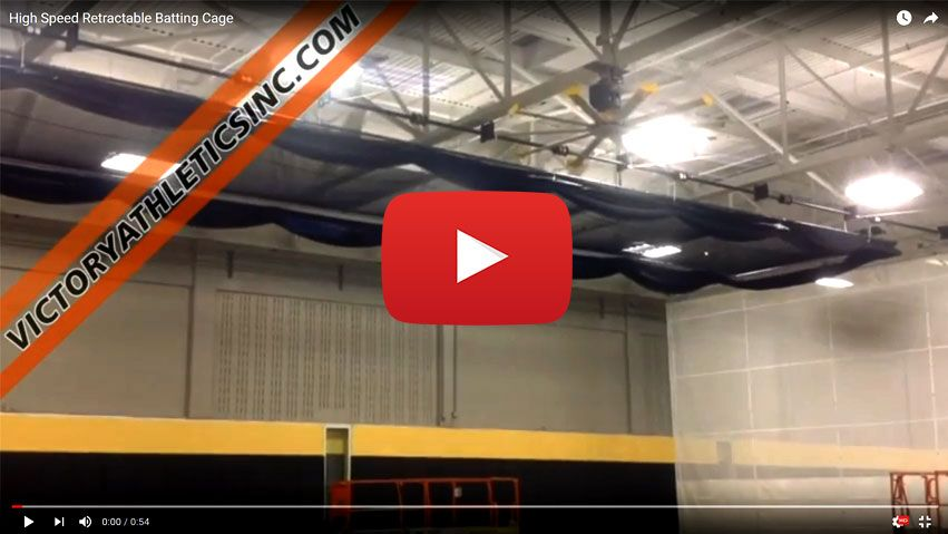 High Speed Hands Free Ceiling Suspended Retractable Batting Cage